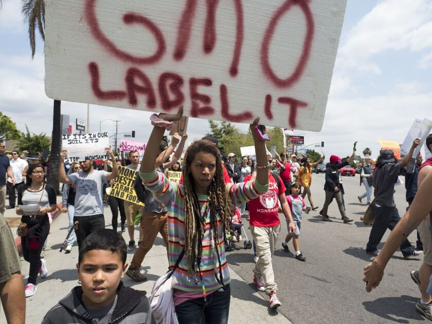 Activists take part in a march against US agrochemical giant Monsanto and GMO food products on May 23, in Los Angeles.