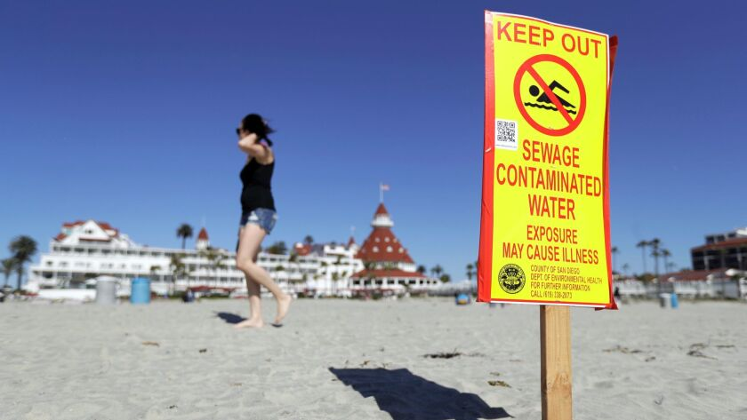 A sign warns of sewage contaminated ocean waters on a beach in front of the iconic Hotel del Coronad