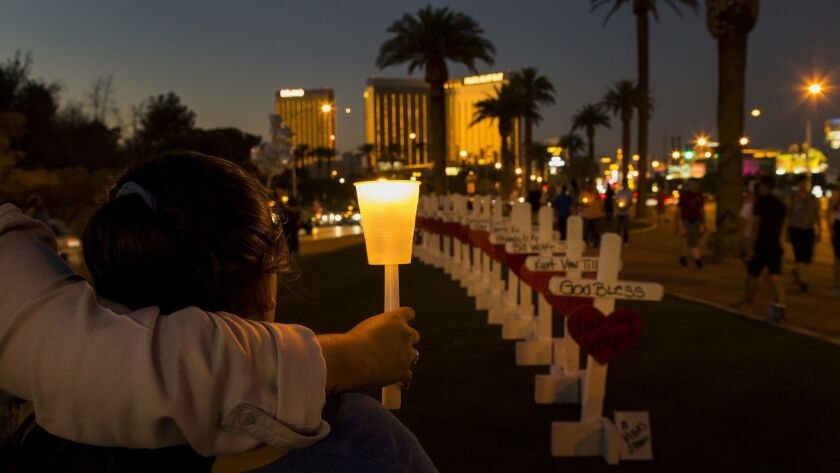 LAS VEGAS, NV - OCTOBER 5, 2017: With wooden crosses bearing the names of those killed in the mass s