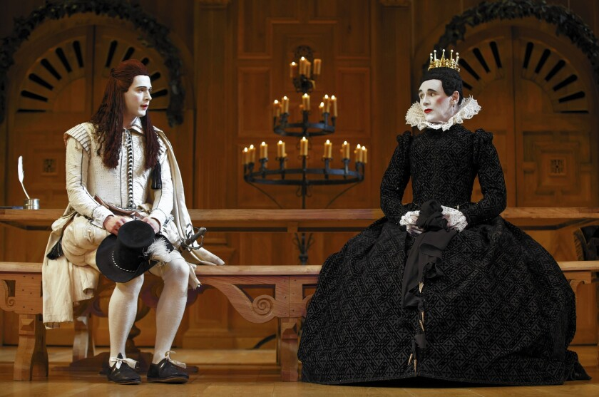 """Samuel Barnett as Viola, left, and Mark Rylance as Olivia in the Shakespeare's Globe production of """"Twelfth Night."""""""