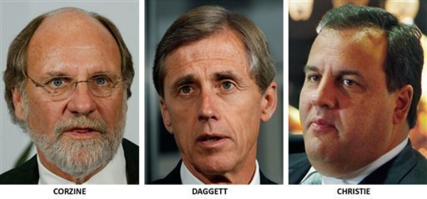 FILE - These Oct. 2009 file photos show the three candidates for governor of New Jersey, from left, Democrat Jon. S. Corzine, Independent Chris Daggett, and Republican Chris Christie. Third party candidate Daggett has gone from an afterthought to a player, who could upend a major race in off-year elections Tuesday. (AP Photo/Mel Evans, FILES)