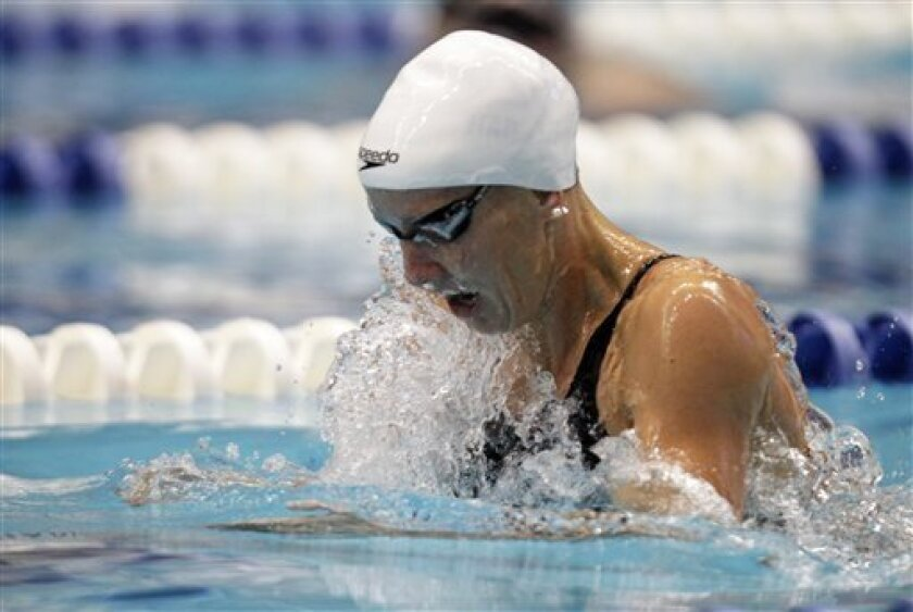 Jessica Hardy swims the 100-meter breaststroke on her way to winning the event at the Indianapolis Grand Prix swimming meet in Indianapolis, Saturday, March 31, 2012.  (AP Photo/Michael Conroy)