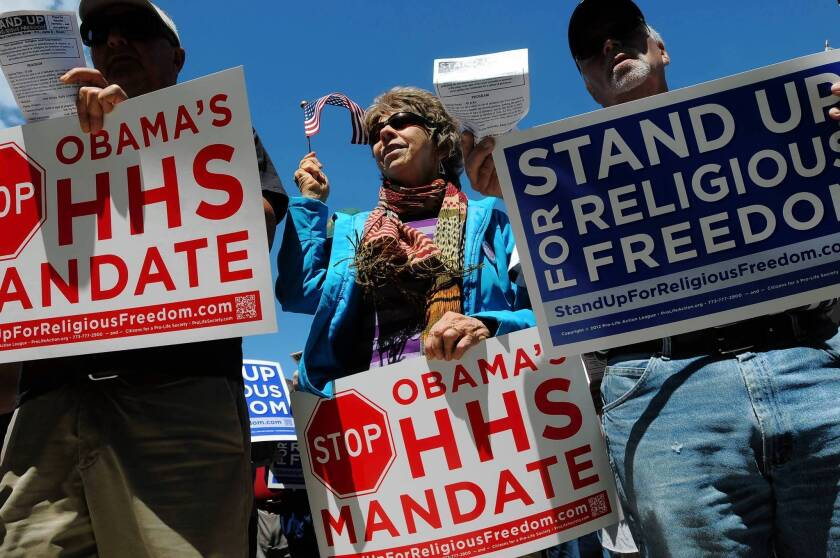 Protesters in Idaho demonstrate against the Obama administration's contraception mandate.