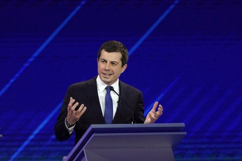 Democratic presidential candidate South Bend Mayor Pete Buttigieg answers a question Thursday, Sept. 12, 2019, during a Democratic presidential primary debate hosted by ABC at Texas Southern University in Houston. (AP Photo/David J. Phillip)