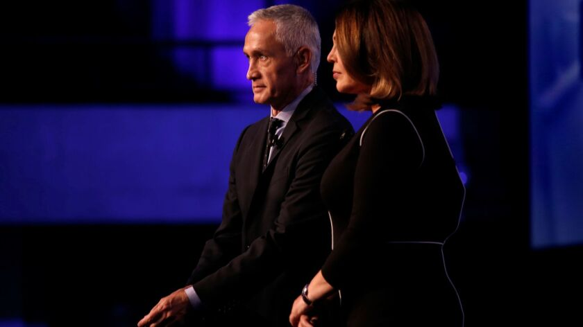 Univision news anchors Jorge Ramos and Maria Elena Salinas in March 2016 at Miami-Dade College in South Florida.