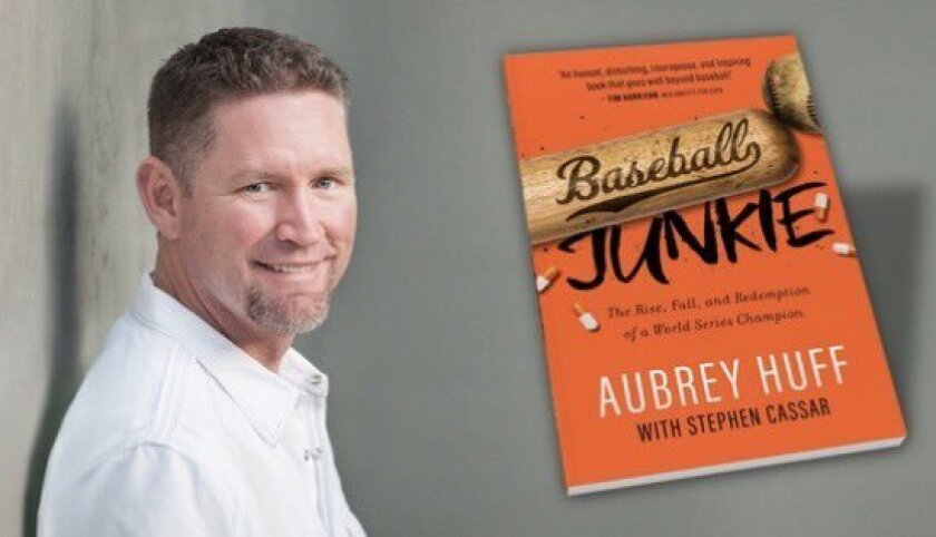 """Aubrey Huff and the cover of his new book, """"Baseball Junkie."""""""
