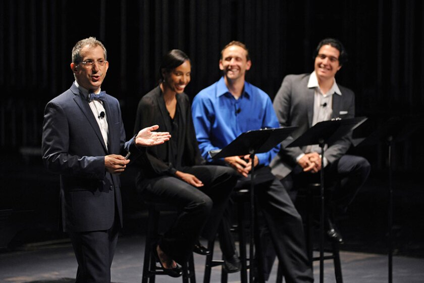 Old Globe Artistic Director Barry Edelstein (far left) with actors (from left) Krystel Lucas, Jason Maddy and Christopher Salazar during Thinking Shakespeare Live! on June 15, 2013.