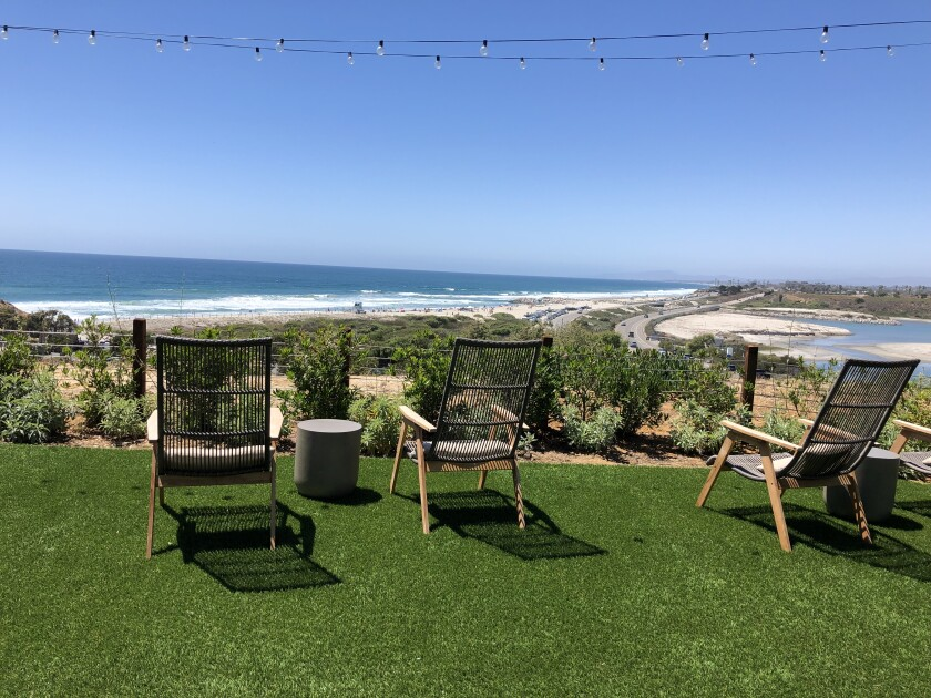 View from the outdoor bar deck at VAGA Restaurant in Leucadia.