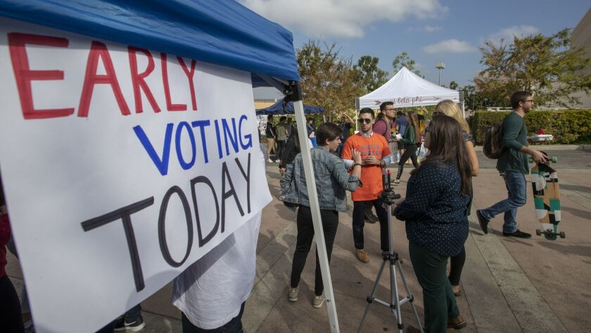 IRVINE, CALIF. -- TUESDAY, OCTOBER 30, 2018: One week before Election Day, University of California,