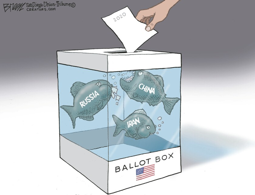 "In this Breen cartoon, an American ballot box is a fish tank filled with piranha labeled ""Russia"", ""China"" and ""Iran"""