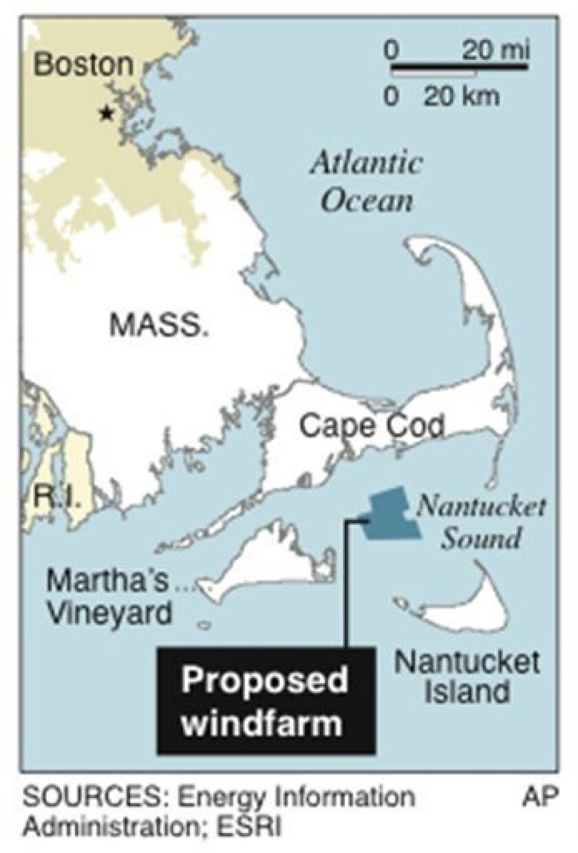 Map locates wind farm in Nantucket Sound;; 1 c x 2 3/4 in; 46.5 mm x 69.85 mm
