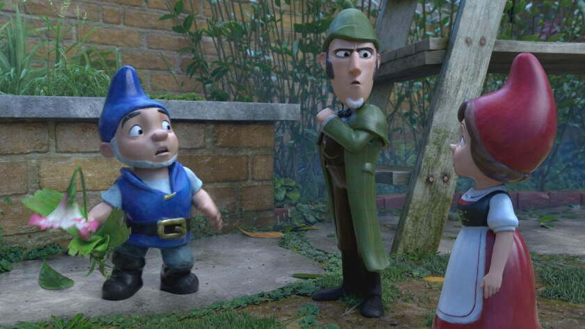 """From left, Gnomeo (voiced by James McAvoy), Sherlock Gnomes (Johnny Depp) and Juliet (Emily Blunt) in the animated movie """"Sherlock Gnomes."""""""