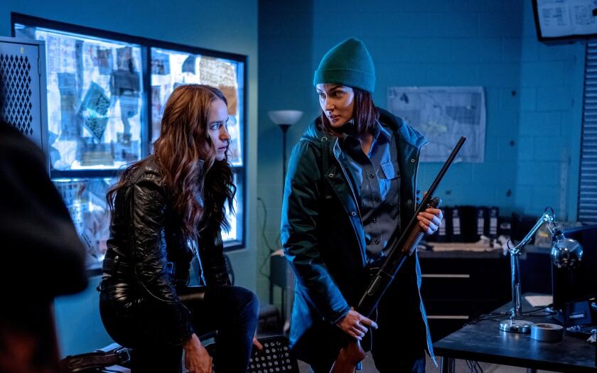 Melanie Scrofano and Katherine Barrell in 'Wynonna Earp'