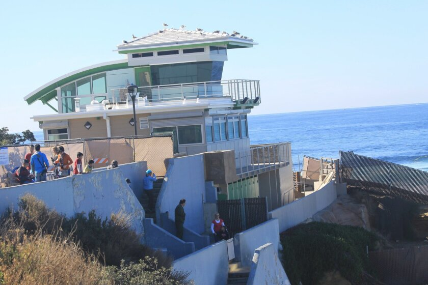 There are a few items that still need to be completed on the exterior of the new Children's Pool lifeguard tower. Photo taken Dec. 30, 2015.