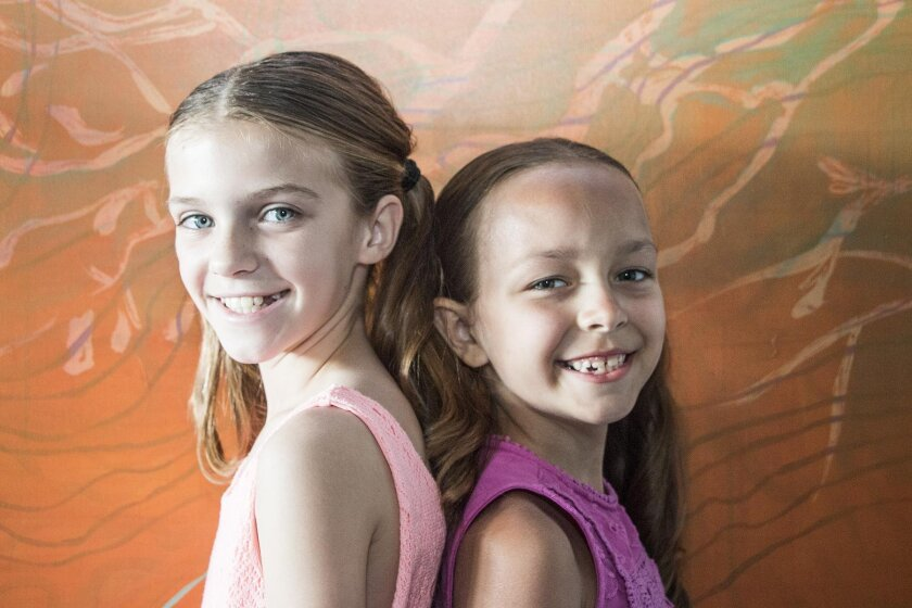 Ainsley Savant, 10, and Madison O'Donovan, 7, are Tina, the hyper-ambitious young star of 'Ruthless! The Musical,' opening July 16 at Moxie Theatre.