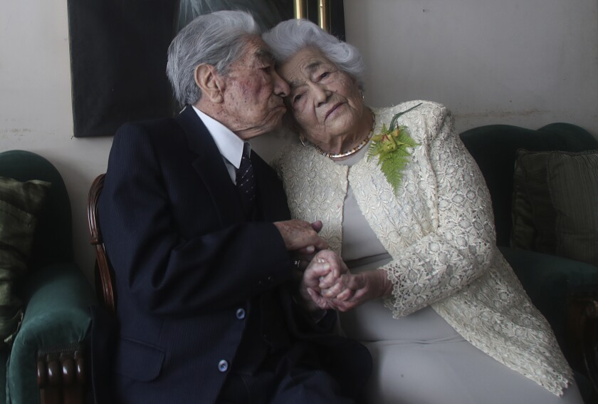 Married couple Julio Mora Tapia, 110, and Waldramina Quinteros, 104, in Ecuador