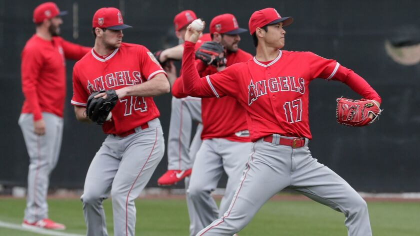 TEMPE, ARIZONA, WEDNESDAY, FEBRUARY 14, 2018 - Angels two-way player Shohei Ohtani warms up with oth