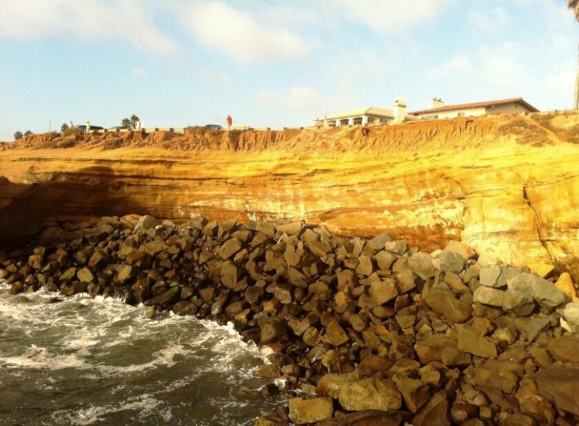 Sunset Cliffs was the scene of a rescue of a Navy man who was swept into the ocean by a wave while standing on a rock early May 3.