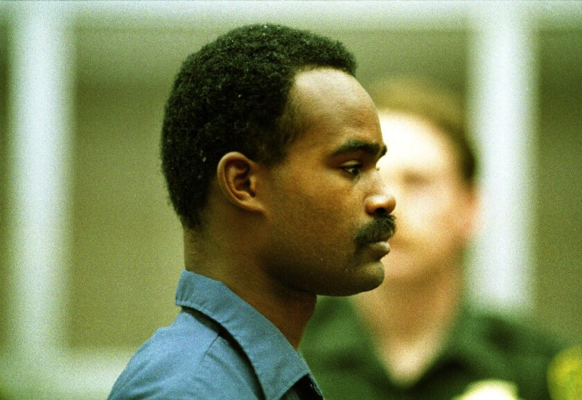 """File photo of Alvin Quarles, dubbed the """"bolder-than-most rapist,"""" at his arraignment in San Diego Superior Court on March 17, 1988."""