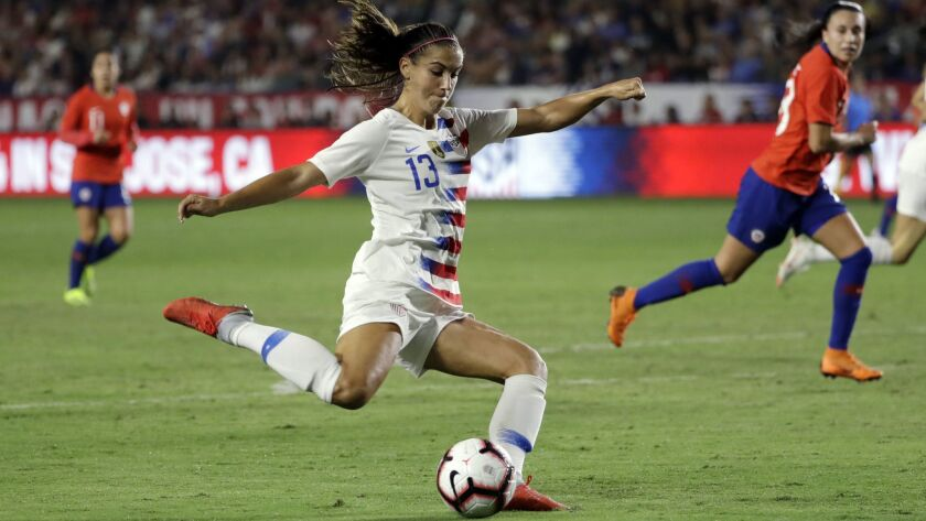 Alex Morgan of the U.S. takes a shot during an Aug. 31 game against Chile.
