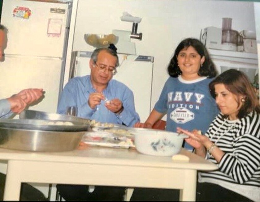 From left to right, Costa Z., Reem Kassis and Juliette Z. at home in Biet Hanina in East Jerusalem.