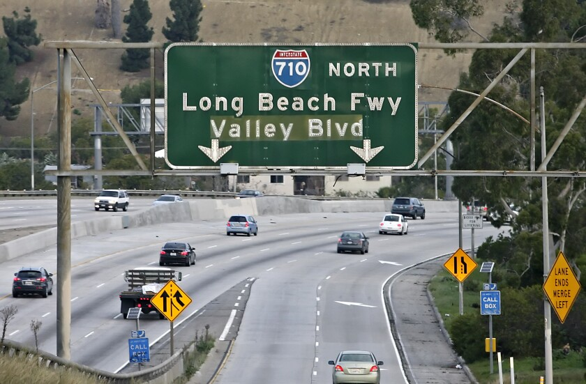 The terminus of the Long Beach (710) Freeway at Valley Boulevard in Alhambra, pictured on Friday, Jan. 29, 2010. The Glendale Unified School District on Tuesday came out against an existing proposal to build a tunnel extension that would connect the freeway to Pasadena.