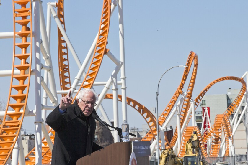 Democratic presidential candidate Bernie Sanders speaks on April 10 at a rally on the Coney Island boardwalk in the Brooklyn borough of New York.