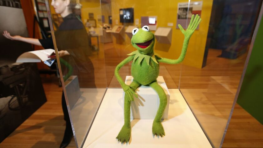 LOS ANGELES, CA – May 29, 2018: Kermit the Frog puppet, 1978 on exhibit at The Skirball Cultural