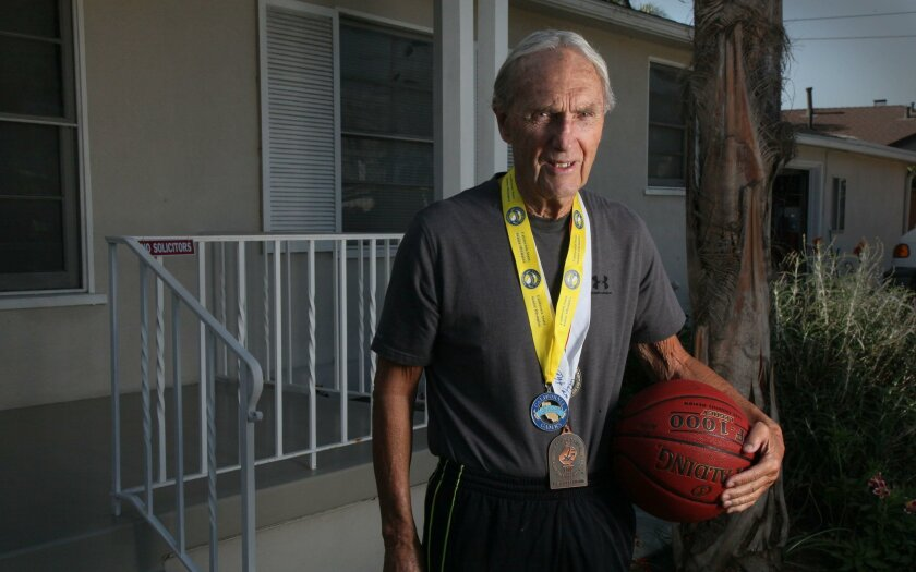 Lee Tucker, 86, plays basketball on Tuesdays and Thursdays at the Mission Valley YMCA. He competes regularly in the San Diego Senior Games.