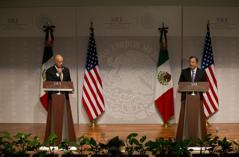 California Gov. Jerry Brown, left, appears at a joint news conference Monday with Jose Antonio Meade, Mexico's secretary of foreign affairs.