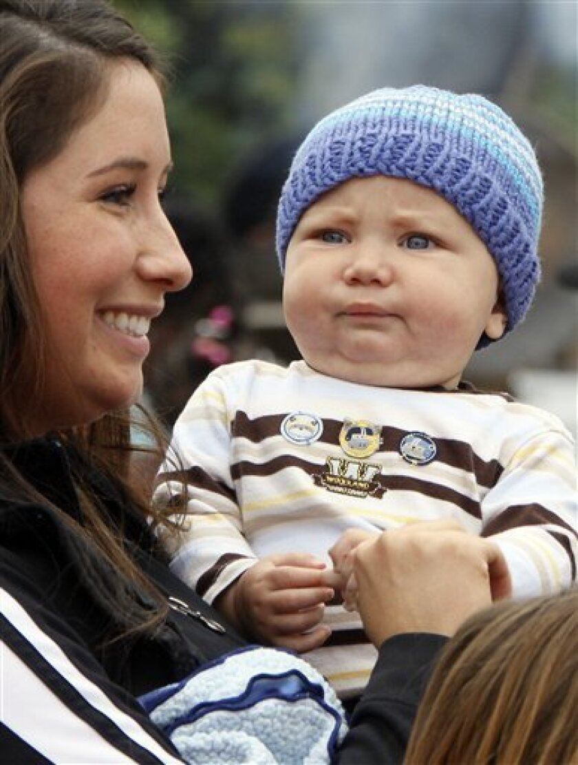 In this July 25, 2009, photo, former Alaska Gov. Sarah Palin's daughter Bristol Palin holds her and Levi Johnston's son Tripp Johnston at the governor's picnic in Anchorage, Alaska. Tax documents show unwed mother Bristol Palin earned more than $262,000 for her role helping raise awareness for teen pregnancy prevention in 2009. The most recent data for The Candie's Foundation that's posted online by research firm GuideStar shows compensation at $262,500 for the now-20-year-old daughter of former Alaska Gov. Sarah Palin, the 2008 Republican vice presidential nominee. (AP Photo/Al Grillo)