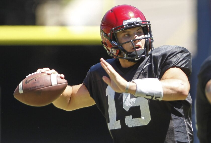 Aztecs' quarterback Nick Bawden looks to throw while the Aztecs play a scrimmage during the Aztec Fan Fest at Qualcomm Stadium in San Diego on Saturday.