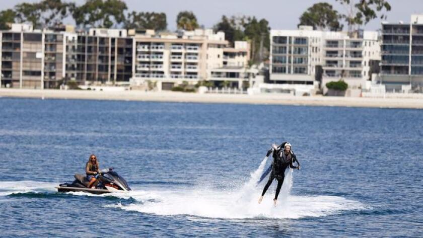 Michelle Dederko does another I dare you: Jetpack America in Mission Bay