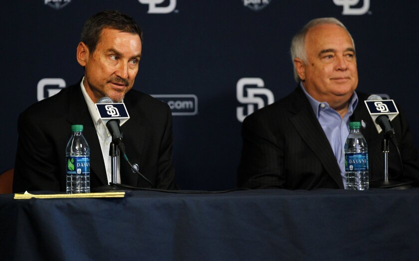Peter Seidler and Ron Fowler of the San Diego Padres new ownership group speak at a news conference at Petco Parkl on Wednesday, August 29, 2012.