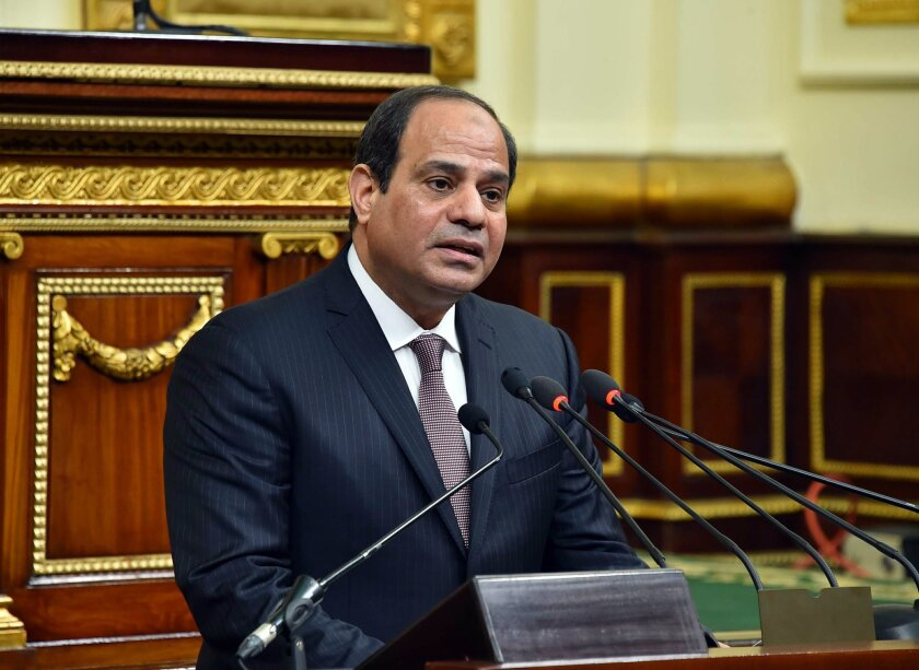 In this photo provided by Egypt's state news agency MENA, Egyptian President Abdel-Fattah el-Sissi, addresses parliament in Cairo, Egypt, Saturday, Feb. 13, 2016. El-Sissi, said his country has established a democratic system after years of turmoil following the 2011 uprising, but rights groups say