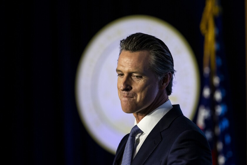 Gov. Gavin Newsom speaks after being sworn in on Jan. 7. In his first year in office, Newsom has not articulated a clear path forward for California water policy.