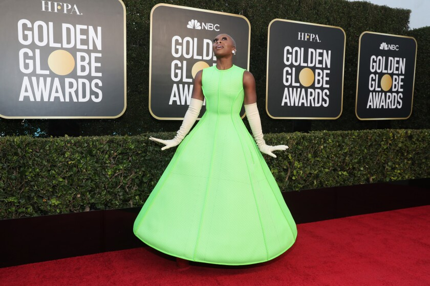Cynthia Erivo in a lime green dress on the red carpet