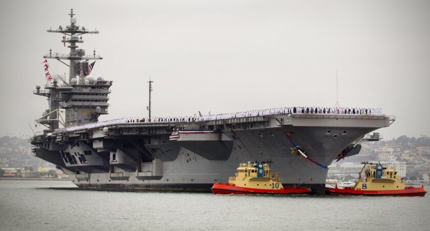 The aircraft carrier Carl Vinson at North Island Naval Air Station. San Diego is slated to get a third carrier by 2016.