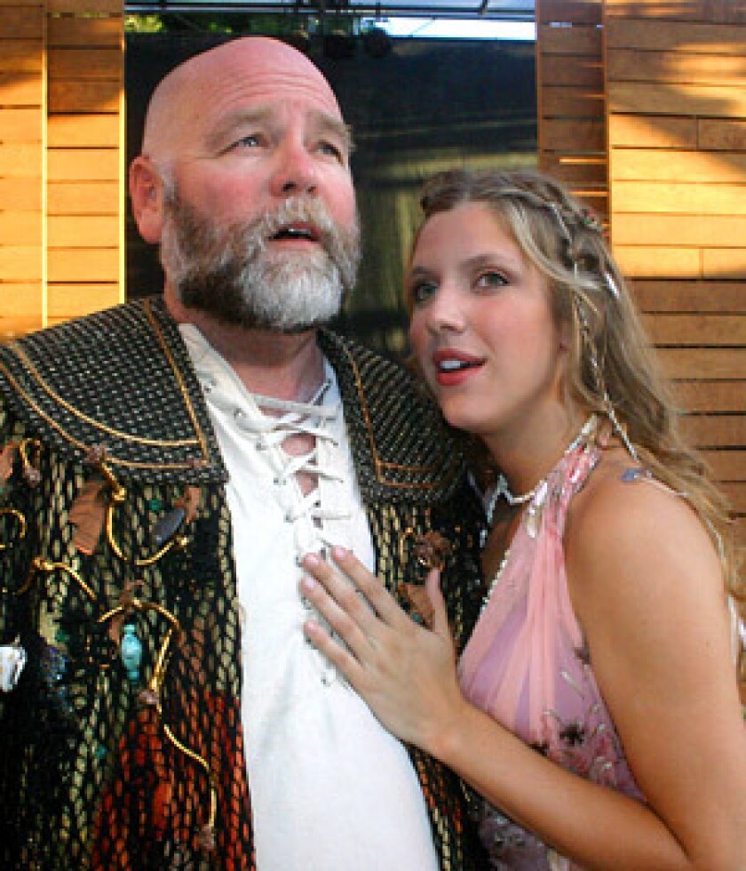 "BRAVE NEW WORLD: Michael Nehring as Prospero and Jenni Putney as Miranda in Shakespeare Orange County's production of ""The Tempest."""