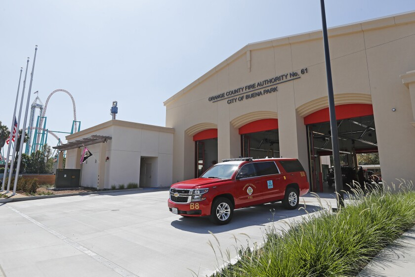The newly renovated Orange County Fire Authority Station 61 is directly across from Knott's Berry Fa