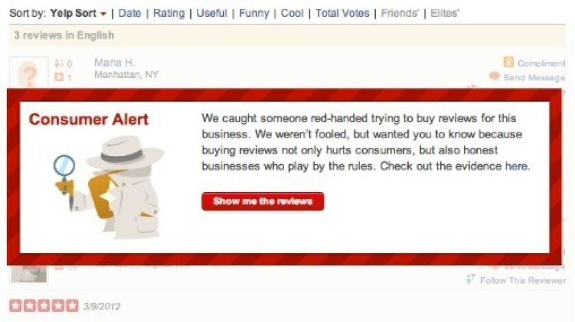 Yelp's new weapon against fake reviews: User alerts