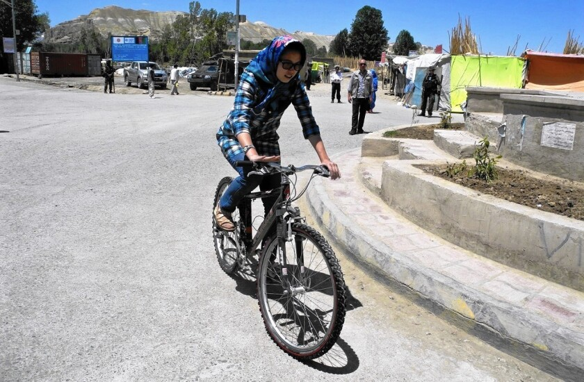 Bicycling advocate Zahra Hussaini in Bamian, Afghanistan