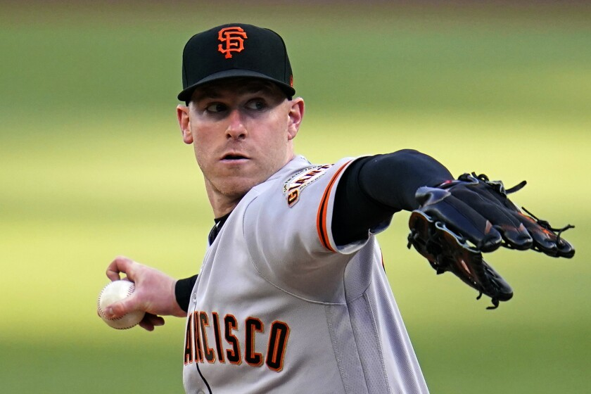 San Francisco Giants starting pitcher Anthony DeSclafani delivers during the first inning of the team's baseball game against the Pittsburgh Pirates in Pittsburgh, Thursday, May 13, 2021. (AP Photo/Gene J. Puskar)