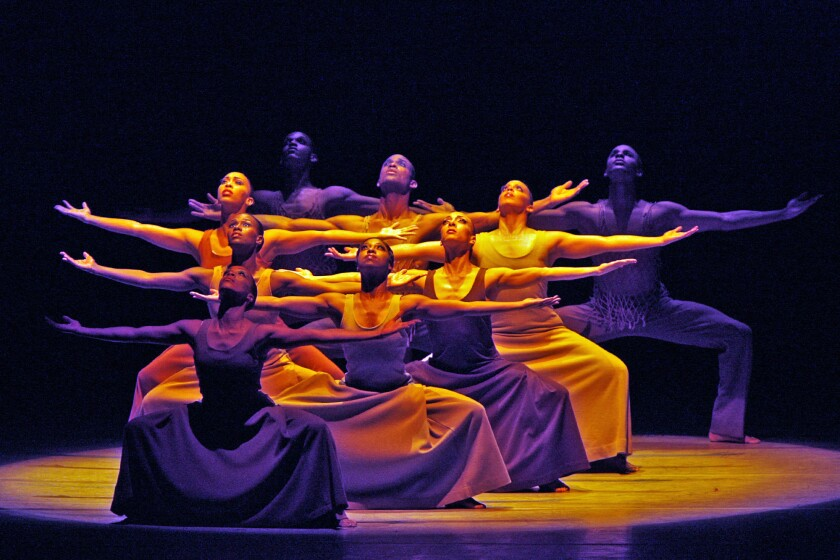 The ensemble in Alvin Ailey's 'Revelations.' (Lawrence K. Ho / Los Angeles Times)