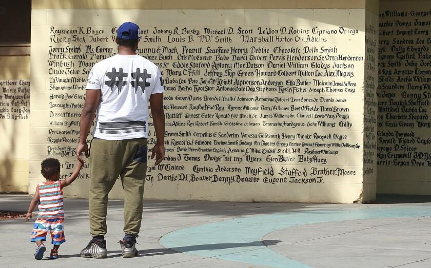 Nickerson Gardens memorial wall