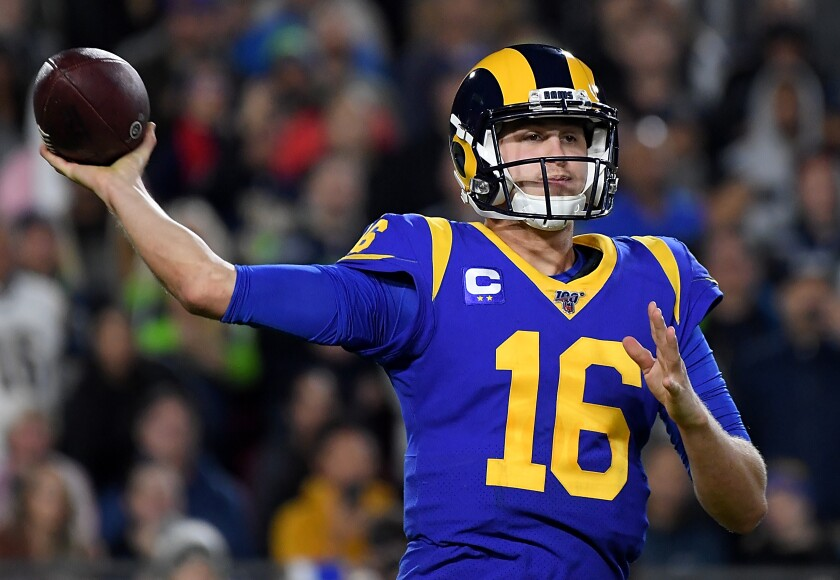 Rams quarterback Jared Goff tosses a pass during a win over the Seattle Seahawks on Dec. 8.