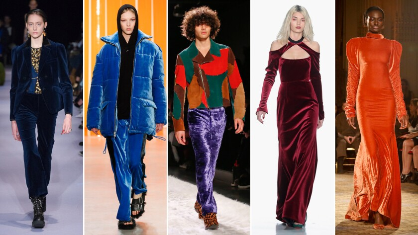 From left: Altuzarra blue jacket and trouser combo; Dion Lee blue velvet puffer jacket and pants; Jeremy Scott purple crushed velvet pants; Bibhu Mohapatra velvet dress; and Christian Siriano.