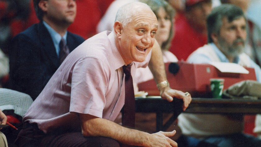 University of Nevada Las Vegas Coach Jerry Tarkanian looks on during a game in 1987. Tarkanian died Feb. 11 at the age of 84.
