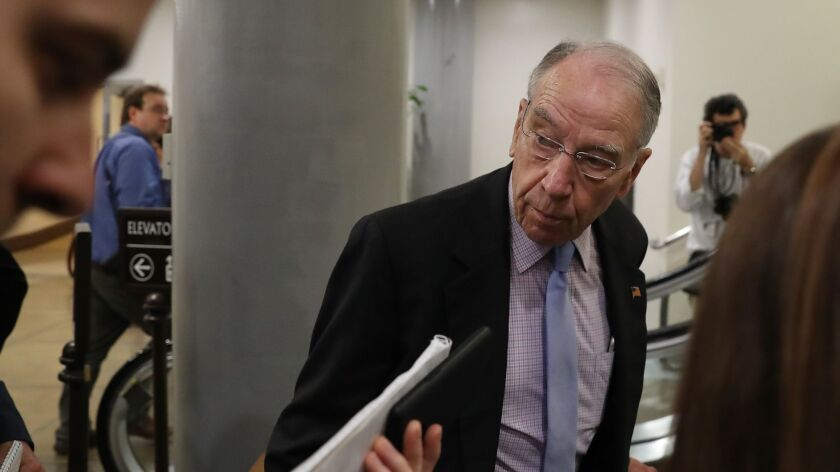 Not your average family farmer: Sen. Chuck Grassley (R-Iowa), owner of a soybean farm, will apply for government subsidies for farmers hurt by Trump's trade war, which he supports.