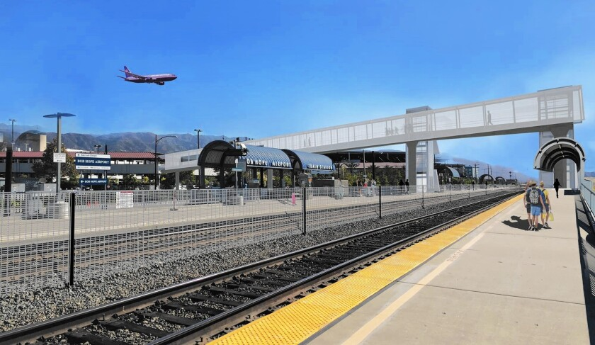 A rendering shows the proposed pedestrian bridge Metro wants to build to connect Bob Hope Airport with the Metrolink station south of the Burbank airfield.